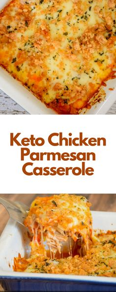This Keto Chicken Parmesan Casserole is a super easy dinner recipe that's bursting with savory, flavorful, cheesy, tomatoey flavor! #keto #ketofood #casserole #dinnerideas #foodrecipes
