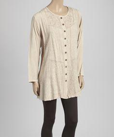 Look at this #zulilyfind! Beige Embroidered Button-Up Tunic #zulilyfinds