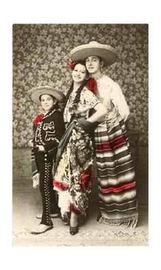 Old tinted postcard, Charro and China Poblana in the Mexican Tradition.
