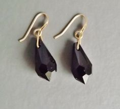 Vintage 80s French Jet drop crystal earrings .. black glass gold tone jewellery