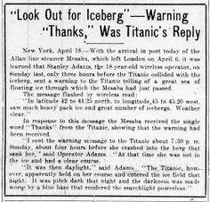 """Thanks,"" was Titanic's response - Titanic: Century"