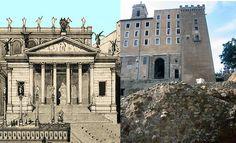 Reconstrucción ideal de lo que pudo ser el Templo de la Concordia y lo poco que queda de él hoy en día.