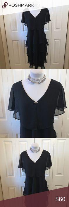 "Patra Plus Cocktail Dress NWT sz 16 Black Ruffle Gorgeous Patra Cocktail Dress NWT sz 16 Tiered Black Ruffle Formal Evening Wedding Dress Bust: 43"" Waist: 40"" Hip: 47"" Length: 42"" Patra Dresses Prom"