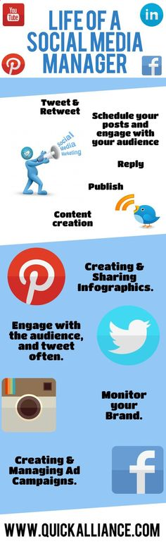 Life of a Social Media Manager explained in an #Infographic. - www.quickalliance...