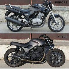 "SAINT MOTORS Co.™ ☠️ 19⚡13 on Instagram: "" by @grommoto Before & After. Honda CB500. #honda #cb #custom #bike #motorcycle #bratstyle #scrambler #caferacer #instamoto…"""