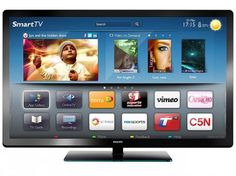 "Smart TV LED 42"" Philips Full HD 1080p 42PFL4007G - Conversor Digital 120Hz PMR 3 HDMI 2 USB YouTube"
