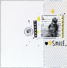 Smile scrapbook page Scrapbook Sketches, Scrapbook Page Layouts, Scrapbook Pages, Scrapbook Photos, Baby Scrapbook, Scrapbook Paper Crafts, Scrapbook Supplies, Polaroid, Diy Letters