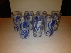 Vintage Hazel Atlas Tulip Tumblers Blue & White Set Of 7 Drinking Glasses 8 Oz