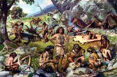 Paleolithic group of people. Illustration by Zdeněk Burian