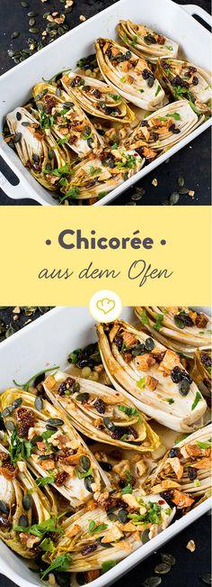 Hörst du es auch? Dein Chicorée ruft nach Gin! Zusammen mit Honig und Obst verwandelt sich der Brand zu einer fruchtigen Marinade für dein Ofengemüse.