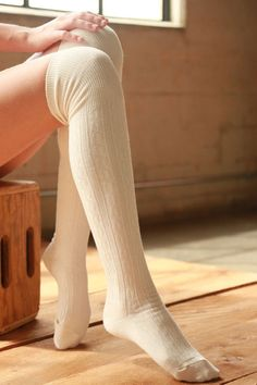 SALE- Cotton Cable Over The Knee Socks-Ivory