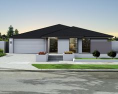 'The Infinity' elevation. 17m frontage. Cubist appearance with contrast rendered blade wall.     View Floorplan on: http://www.pinterest.com/pin/575264552374223738/    #elevation #facade #house #home #smarthomesforliving