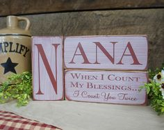 Mother Block Set When I Count My Blessings I by ExpressionsNmore Wood Pallet Crafts, 2x4 Crafts, 2x4 Wood, Wood Block Crafts, Rustic Crafts, Wooden Crafts, Wooden Block Letters, Wooden Blocks, Great Gifts For Mom