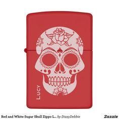 Red and White Sugar Skull Zippo Lighter