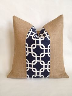 Navy and White Gotcha Fabric and Burlap Pillow by BouteilleChic, $26.00