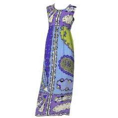 1960s Vintage Silk Dress Emilio Pucci Crinkle Silk Signature Pop Art Mod Fabric