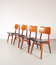 Teak and Plywood Dining Chairs by Louis van Teeffelen for WeBe, 1950s