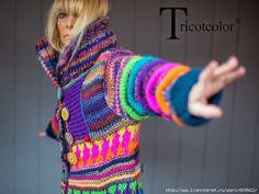 Tricotcolor: Winter New! Cardigan Au Crochet, Gilet Crochet, Crochet Coat, Freeform Crochet, Crochet Clothes, Knitting Designs, Knitting Patterns, Crochet Hippie, Moda Crochet