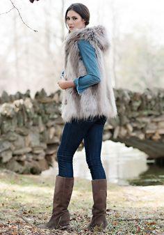 Silver Fox Hooded Faux Fur Vest