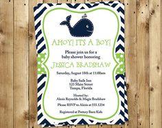Whale Baby Shower Invitations Unisex Chevron by TheInviteLadyShop