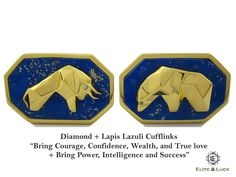 "Diamond + Lapis Lazuli Sterling Silver Cufflinks, 18K Yellow Gold plated, Bull & Bear Model ""Bring Courage, Confidence, Wealth, and True love + Bring Power, Intelligence and Success"" *** Combine 2 Gemstone Powers to double your LUCK ***"