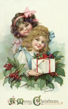 This is a reproduction of an antique Christmas postcard. I love postcard collections. It is by Frances Brundage Christmas smiles to all. Vintage Christmas Images, Old Christmas, Victorian Christmas, Vintage Holiday, Christmas Pictures, Christmas Greetings, Christmas Postcards, Christmas Girls, Christmas Cross
