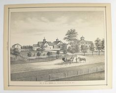 1876 Antique Farm Print, Horse Architecture Print, East Bloomfield, NY Ontario County NY, Black and White Art, Hodge Genealogy Research available from OldMapsandPrints.Etsy.com #HodgeGenealogyNY #EastBloomfieldNewYork #OntarioCountyNYAntiquePrint #UpstateNYAntiqueFarmPrint