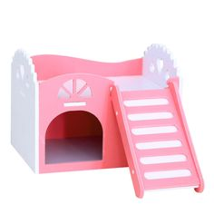 SODIAL(R) Small Animal Pet Hamster Rat Hedgehog Squirrel Ladder House Bed Nest Cage Wood pink Product Name: pet sleeping nest Color: Pink Material: Wood plastic plate Size: X X Adorable, bright colors and interesting Rat House, Hamster House, Wood Plastic, Funny Hamsters, Small Animal Cage, Little Girl Toys, Pet Cage, Activity Toys, House Beds