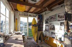 patagonia:  Trevor Gordon in his studio in Carpinteria, California. Photo by Jeff Johhnon