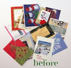 New ways to recycle Christmas cards.... too bad I didn't get any this past year :(