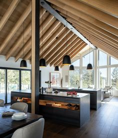 Boulder Mountain Cabin / HMH Architecture + InteriorsYou can find Modern cabins and more on our website. Modern Cabin Interior, Cabin Interior Design, Cabin Design, Modern Cabins, Modern Houses, Modern Home Design, Modern Wood House, Natural Interior, Studio Interior