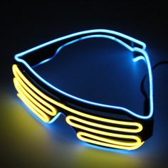 Double Color Glow LED EL Glasses Wire sunglasses Light Up Shades Flashing Rave Festival Party Bright Glasses Drop Shipping