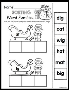 CHRISTMAS CVC WORDS - Freebies - Kindergarten and First Grade Math and Reading printables - Santa Activities - Christmas Tree Worksheets - Adding - Subtracting - Comprhension - Sight Words - Phonics - CVC words and MORE! Kindergarten Literacy, Kindergarten Christmas, Christmas Activities, First Grade Reading, Early Reading, Literacy Stations, Literacy Centers, Cvc Words, Word Families