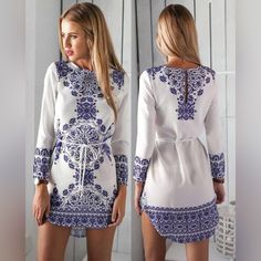 """Trends Very Nice White Printed Dress  Trends Very Nice White Printed Dress❤️ Overview:  (1) O Neck (2) Solid Color (3) Long Sleeve (4) Floral Print (5) Bandage Fit&Sizing: Stretchable Little Detail in Tile Measurement: Size(cm) (Large) Length-81 Bust-92 Hip-94 Waist-74  Warm Tips: 1.Please Check The Above Detailed Measurement To Choose The Correct Size,  And Allow 3-4 Cm (1.18""""-1.57"""") Differences Due To Manual Measurement.  2.A little color shading may be caused by the light difference and…"""