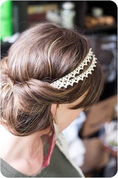 easy boho updo: take a stretchy headband and put it on your head. Tuck hair into band and you're done!