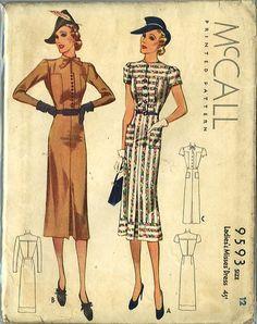 McCall 9593 | ca. 1938 Ladies' & Misses' Dress