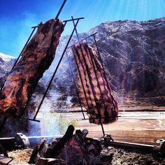 Asado a la estaca. Open air barbacue. Argentina