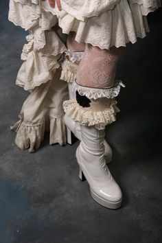 Marie Antoinette Frilly couture Boot Cuffs (pair) by Black Orchid