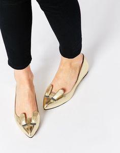 Image 1 ofASOS LITTLE MUNCHKIN Pointed Ballet Flats