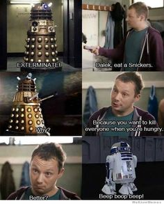 Sometimes a Dalek just needs a Snickers... #whovian