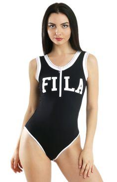 f9e6e951381 FILA Women's, Cheska Bodysuit - Black/White