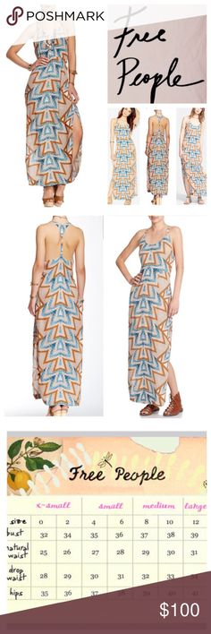 "Free People Serves You Right Maxi Dress.  NWT. Free People Serves You Right Printed Maxi Dress, 100% rayon, washable, 15"" armpit to armpit (30"" all around), 30"" waist, 54"" length, 20"" side slits, scoop neck, concealed side zip closure, T-back with ring detail, allover geometric print, side slits, adjustable racerback, partially lined, measurements are approx.  NO TRADES Free People Dresses Maxi"
