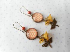 """Grandes boucles d'oreille """"pois libellule fleur orange bronze"""" - N°19 : Boucles d'oreille par miss-coopecoll"""