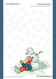 Schrijfpatroon het sneeuwt, kleuteridee.nl, thema winter, free printable...  Peuters kunnen op de balletjes watte kleven