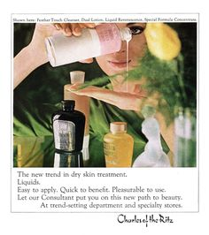 Vintage Charles of the Ritz skin care ad from 1964 New Yorker magazine Feather Touch, Makeup History, Skin Treatments, Dry Skin, New Trends, Lotion, How To Apply, Skin Care, Cosmetics