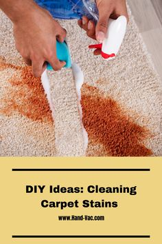 Cleaning carpet stains - see things you may not know to help you get those stains out! Cleaning Carpet Stains, Stain Remover Carpet, Removing Carpet, How To Clean Carpet, Cleaning Hacks, Rugs On Carpet, Organizing