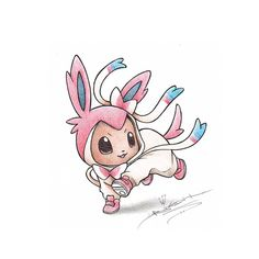 Eevee wearing a Sylveon Onsie by BirdychuArt.deviantart.com on @deviantART