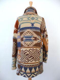 Ralph Lauren Indian Blanket Sweater Cardigan Navajo Top Hippie Boho
