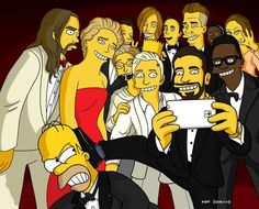 Homer gets the boot! The Simpsons creator Matt Groening came up with this recreation of Ellen DeGeneres' famous Oscar selfie featuring Homer and Bart, of course. Homer Simpson, Ellen Degeneres, Bradley Cooper, Selfies, Selfie Tips, The Simpsons, Jared Leto, Jennifer Lawrence, Brad Pitt