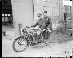 William Byer and Lieutenant Lowell Smith, Chicago Police Department, sitting on motorcycle.   c. 1925  (memory.loc.gov)